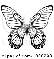 Royalty Free Vector Clip Art Illustration Of A Black And White Butterfly Logo 10