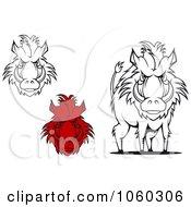 Digital Collage Of Razorback Boar Logos 3