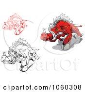 Digital Collage Of Razorback Boar Logos 1