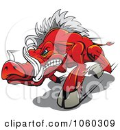 Royalty Free Vector Clip Art Illustration Of A Razorback Boar Logo 1