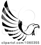 Royalty Free Vector Clip Art Illustration Of A Black And White Eagle In Flight Logo by Vector Tradition SM