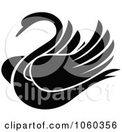 Royalty Free Vector Clip Art Illustration Of A Black And White Swan Logo