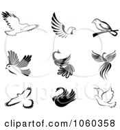 Royalty Free Vector Clip Art Illustration Of A Digital Collage Of Black And White Bird Logos