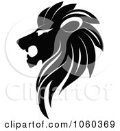Royalty Free Vector Clip Art Illustration Of A Black And White Lion Logo 2