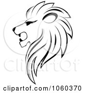 Royalty Free Vector Clip Art Illustration Of A Black And White Lion Logo 3