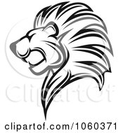 Royalty Free Vector Clip Art Illustration Of A Black And White Lion Logo 4