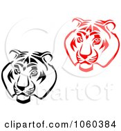 Royalty Free Vector Clip Art Illustration Of A Digital Collage Of Tiger Head Logos by Vector Tradition SM