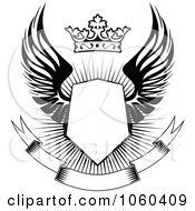 Royalty Free Vector Clip Art Illustration Of A Winged Shield With A Crown And Blank Banner 2