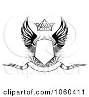 Royalty Free Vector Clip Art Illustration Of A Winged Shield With A Crown And Blank Banner 1