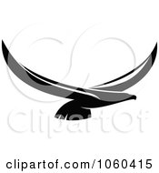 Royalty Free Vector Clip Art Illustration Of A Black And White Flying Eagle Logo 11 by Vector Tradition SM #COLLC1060415-0169