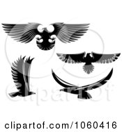 Royalty Free Vector Clip Art Illustration Of A Digital Collage Of Black And White Flying Eagle Logos 2