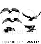 Royalty Free Vector Clip Art Illustration Of A Digital Collage Of Black And White Flying Eagle Logos 3