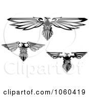 Royalty Free Vector Clip Art Illustration Of A Digital Collage Of Black And White Heraldic Eagle Logos