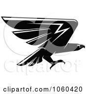 Royalty Free Vector Clip Art Illustration Of A Black And White Flying Eagle Logo 12