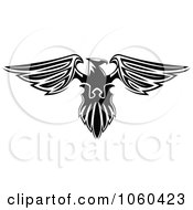 Royalty Free Vector Clip Art Illustration Of A Black And White Heraldic Eagle Logo 2
