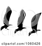Royalty Free Vector Clip Art Illustration Of A Digital Collage Of Black And White Flying Eagle Logos 1
