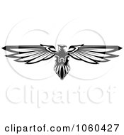 Royalty Free Vector Clip Art Illustration Of A Black And White Heraldic Eagle Logo 1