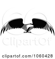 Royalty Free Vector Clip Art Illustration Of A Black And White Flying Eagle Logo 9