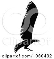 Royalty Free Vector Clip Art Illustration Of A Black And White Flying Eagle Logo 1