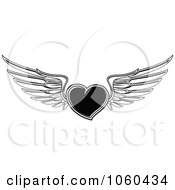 Royalty Free Vector Clip Art Illustration Of A Black And White Winged Heart
