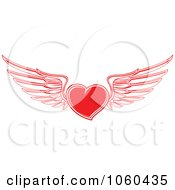 Royalty Free Vector Clip Art Illustration Of A Red Winged Heart