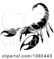 Royalty Free Vector Clip Art Illustration Of A Black And White Scorpion Logo by Vector Tradition SM
