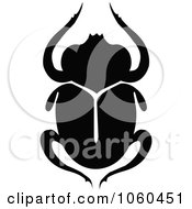 Royalty Free Vector Clip Art Illustration Of A Black And White Scarab Beetle Logo 2 by Vector Tradition SM