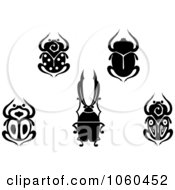 Royalty Free Vector Clip Art Illustration Of A Digital Collage Of Black And White Scarab Beetle Logos by Vector Tradition SM