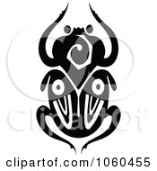 Royalty Free Vector Clip Art Illustration Of A Black And White Scarab Beetle Logo 5 by Vector Tradition SM