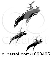 Royalty Free Vector Clip Art Illustration Of A Digital Collage Of Black And White Moose Logos by Vector Tradition SM