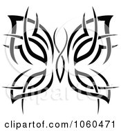 Royalty Free Vector Clip Art Illustration Of A Black And White Butterfly Logo 14 by Vector Tradition SM