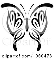 Royalty Free Vector Clip Art Illustration Of A Black And White Butterfly Logo 4 by Vector Tradition SM