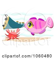 Fish Blowing A Horn By A Crab