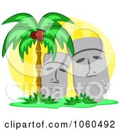 Royalty Free Vector Clip Art Illustration Of Stone Statues And A Palm Tree by bpearth