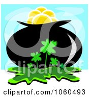 Royalty Free Vector Clip Art Illustration Of A Pot Of Gold In A Clover Patch