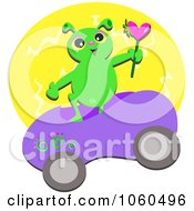 Alien In A Car Holding A Heart Over A Yellow Circle