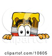Clipart Picture Of A Paint Brush Mascot Cartoon Character Peeking Over A Surface