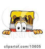 Paint Brush Mascot Cartoon Character Peeking Over A Surface