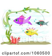 Royalty Free Vector Clip Art Illustration Of A Crab Seaweed And Fish by bpearth