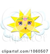 Royalty Free Vector Clip Art Illustration Of A Sun Wearing A Hibiscus Over A Cloud by bpearth