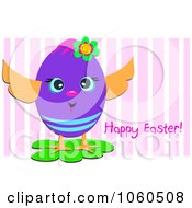 Happy Egg With Easter Text On Purple Stripes