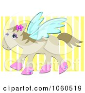 Royalty Free Vector Clip Art Illustration Of A Flying Horse Over Yellow Stripes by bpearth