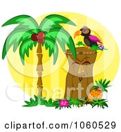 Royalty Free Vector Clip Art Illustration Of A Tiki With A Toucan And Palm Tree by bpearth