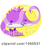 Royalty Free Vector Clip Art Illustration Of A Purple Dragon Over A Yellow Oval by bpearth