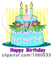 Royalty Free Vector Clip Art Illustration Of A Tropical Blue Birthday Cake With Hibiscus Flowers And Text by bpearth