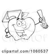 Royalty Free Vector Clip Art Illustration Of An Outlined Student Apple Holding A Diploma