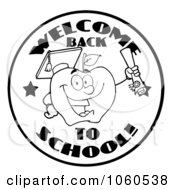 Royalty Free Vector Clip Art Illustration Of A Black And White Welcome Back To School Circle And Student Apple Holding A Diploma