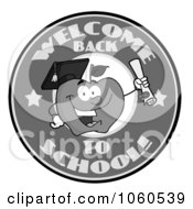 Royalty Free Vector Clip Art Illustration Of A Welcome Back To School Circle And Student Apple Holding A Diploma 3