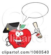 Royalty Free Vector Clip Art Illustration Of A Talking Student Apple Holding A Diploma