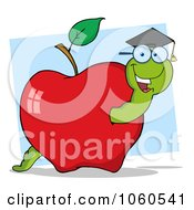 Royalty Free Vector Clip Art Illustration Of A Student Worm In An Apple 3 by Hit Toon